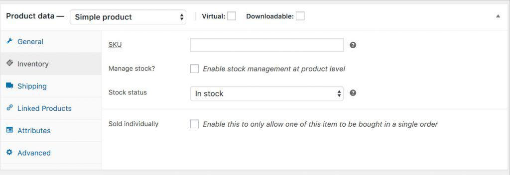 Woocommerce disable simple product stock management