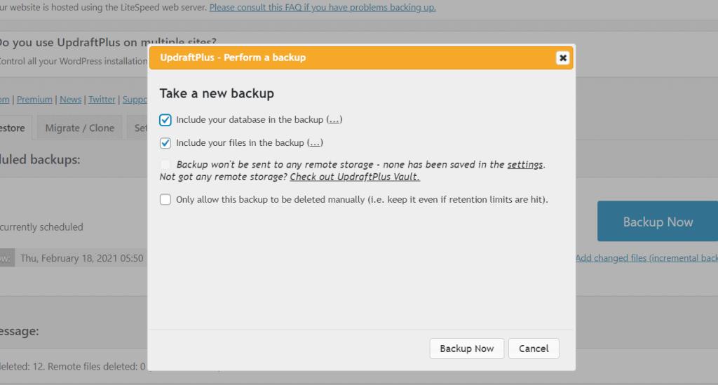 Updraftplus Starting New Backup