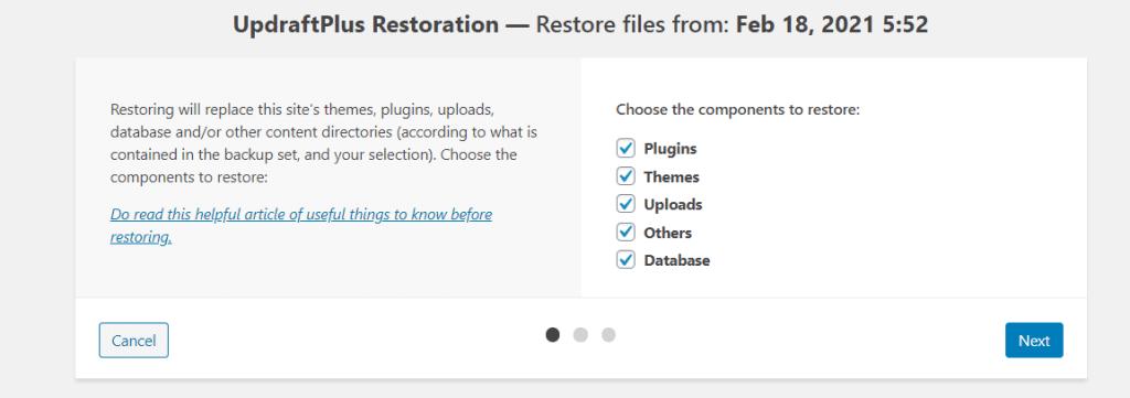 Updraftplus Restoration Clicks