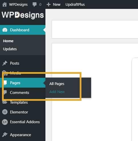 Add New Page In Wordpress