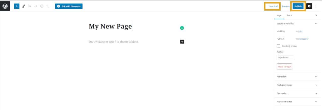 Save Draft Or Publish Wordpress Page