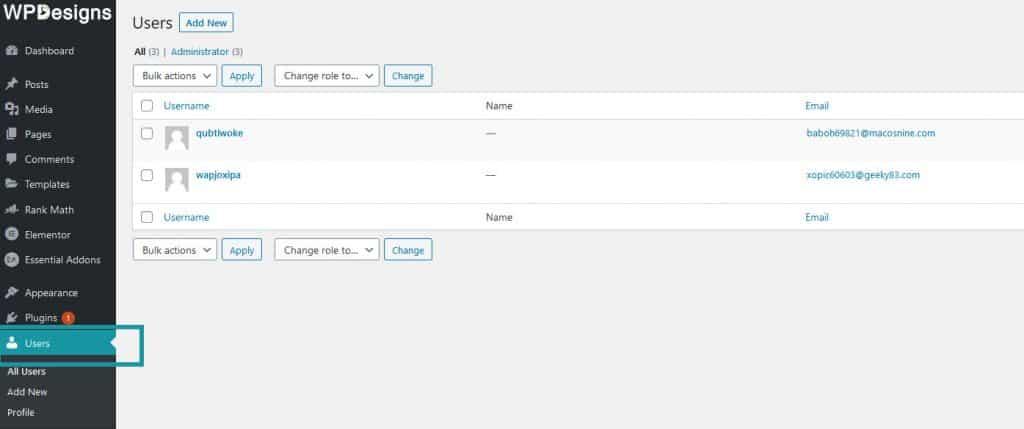 User tab in WordPress