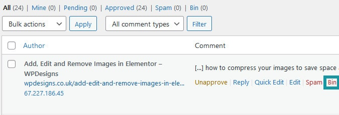 Deleting Any Comment In Wordpress