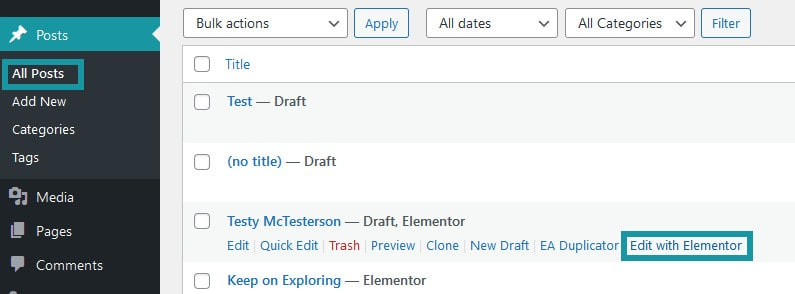 Edit A Post With Elementor